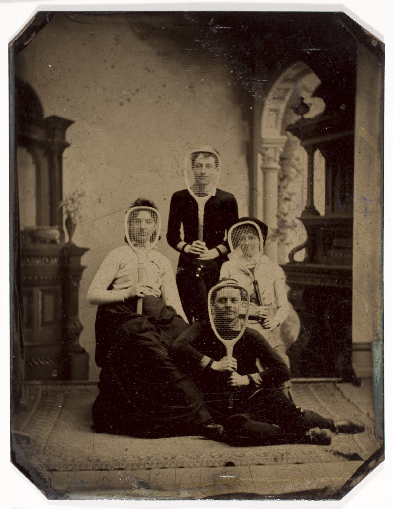 Unidentified Photographer, (Two Unidentified Women and Two Men with Tennis Rackets), ca. 1880, Court