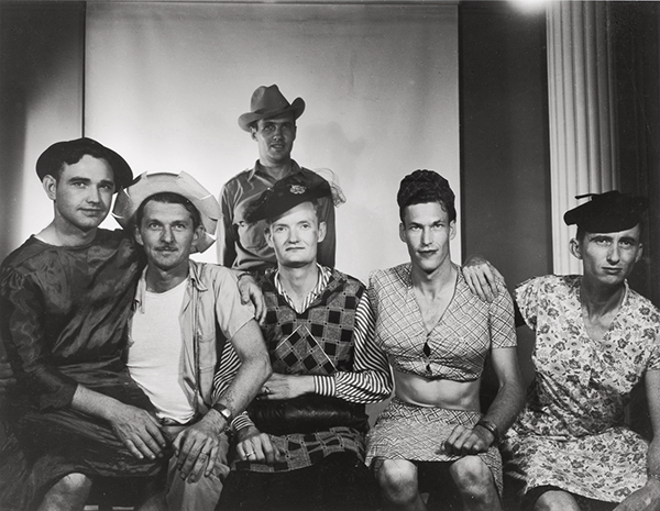 Bill Wood, [Group of men, dressed in women's clothing], 1950s