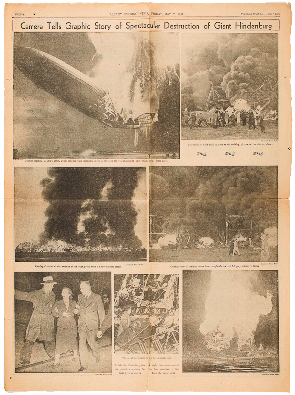 newspaper; Hindenburg; blimp; fire