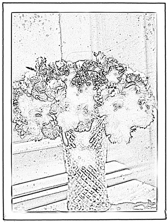 Coloring page of flowers in a vase