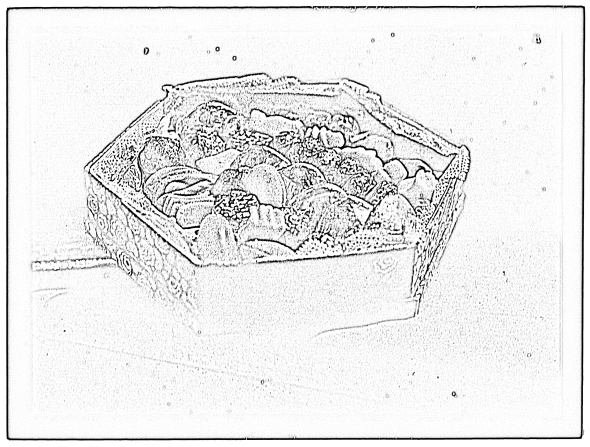 Coloring page of marzipan in a floral box